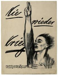Käthe Kollwitz, Nie wieder Krieg, Plakat zum Mitteldeutschen Jugendtag 1924, Kreide- und Pinsellithografie (Umdruck)