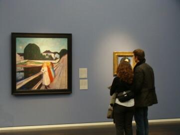 Abteilung 19. Jahrhundert, Paar vor Gemälde von Evard Munch